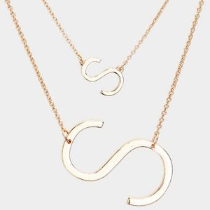 "Gold Monogram ""S"" Big Initial Pendant Double Chain"
